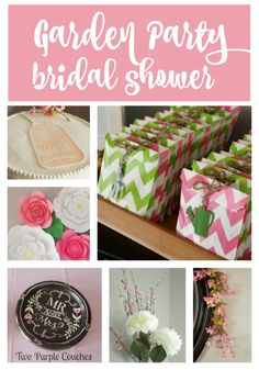 Gorgeous pink and green Garden Party Bridal Shower - see all the decor details from an incredible paper flower backdrop to adorable garden-inspired shower favors!