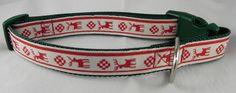 Country Reindeer Christmas Dog Collar
