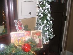 I love using vintage postcards throughout the house during the holidays.