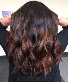 60 Hairstyles Featuring Dark Brown Hair with Highlights Sexy Cinnamon Spirals Black Hair With Red Highlights, Bright Red Hair, Brown Hair Colors, Peekaboo Highlights, Chunky Highlights, Caramel Highlights, Brown Hair Red Highlights, Cinnamon Brown Hair Color, Cinnamon Hair