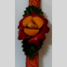 pre-owned genuine leather strap bracelet floral snap closure | Scott's Marketplace
