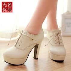 England 33 thick waterproof high-heeled shoes with small round beige lace Spring shoes large size shoes 40-43- Taobao