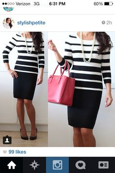 Black skirt, striped top. Chic black and white. Modest fashion