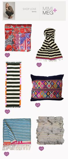 Shop Love with Mimi+Meg spotlighting lovely finds from Amber Interiors! Love those striped blankets!