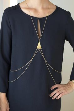 gold triangle body chain by linquistjewelry on Etsy, $77.00