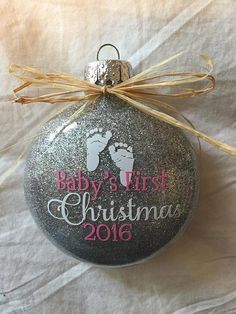 Personalized glitter ornaments * Christmas ornament * glass ornament * disk ornament * baby's first christmas* vinyl decoration