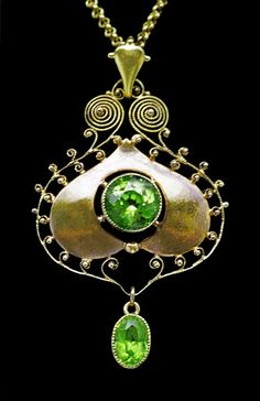 Murrle Bennett and Co. Jugendstil Pendant, Gold, Peridot; German, c.1900 #AntiqueJewelry #AntiquePendant