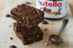 Nutella Brownies by Completely Delicious, via Flickr - I subbed walnuts for hazelnuts and it was delish
