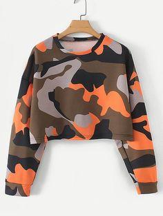 Sudadera corta con estampado de camuflaje -SheIn (Sheinside) - #camuflaje #Con #corta #de #estampado #shein #sheinside #sudadera