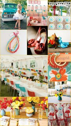 Sunflower, Rust, and Turquoise Wedding Color Inspiration Board