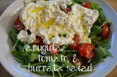 arugula, tomato, & burrata salad - dressed with meyer lemon olive oil, salt, and pepper. super simple, so delicious!