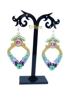 Turquoise earrings by CRIBIJOUX #craw #turquoise #earrings #beads #beading #golden #violet #ametyst #swarovski #shopping #etsy #perles #hobby