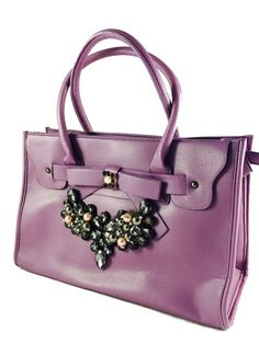 Violet totebag with embellishment available at Amazon