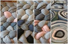 braided rug - made from legs of jeans cut into strips and sewn together