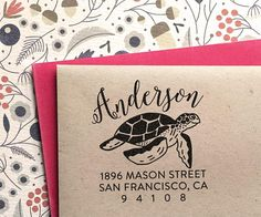 Return Address Stamp, custom stamp with turtle, wedding, housewarming, christmas gift, rubber stamp,wedding stamp, self inking stamp Address Stamp, Self Inking Stamps, Custom Stamps, Return Address, Wooden Handles, House Warming, Turtle, Cool Designs, Christmas Gifts