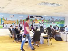 http://www.vinylimpression.co.uk Massive office wall mural, everyone works harder if they love the space they work in! #officebranding #vinyl #love