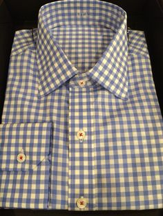 N17 white/blue gingham, red button stitching.
