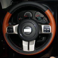 XuJi Black Orange Genuine Leather Suede Steering Wheel Cover for Jeep Compass…