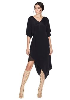 GEENA DOUBLE LAYER V-NECK DRESS by Alice + Olivia