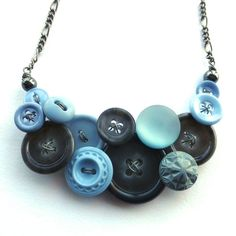 Vintage Button Jewelry Necklace in Gray and by buttonsoupjewelry, $32.00