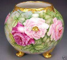 Absolutely Precious ROMANTIC ROSES Limoges France Bulbous Rose Bowl Footed Vase Planter Artist Signed circa 1900