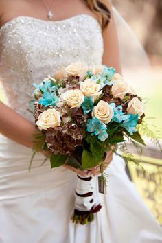 peachy cream roses, chocolate hydrangeas, turquoise alstroemeria, bride's bouquet, rustic turquoise California wedding, Mirelle Carmichael Photography...Mel, this is your bouquet. just take out the chocolate stuff. change the way they wrap the stems. I like ribbon hanging from the stem, with some pearls or rhinestone on it.