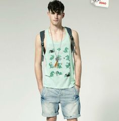 TANK TOP Vests  http://www.aliexpress.com/store/802966/211458764-538471925/MENS-dinosaur-COTTON-Printed-TANK-TOP-Vests-light-green-Slim-Fit-Style-Free-Shipping-Size-M.html  $12.7