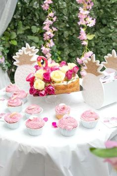 Feast your eyes on this fun flamingo birthday party! The dessert table is gorgeous!! See more party ideas and share yours at CatchMyParty.com #catchmyparty #partyideas #flamingos #flamingoparty #girlbirthdayparty #summerparty #poolparty