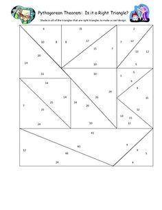This is a pythagorean theorem practice where students are given three measurements and need to find out if it is a right triangle or not, by having...