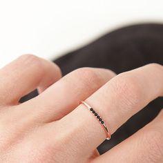 Black Diamonds line ring rose gold mejuri.com