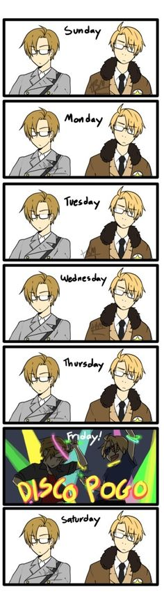 Stages of the week. Hetalia style.