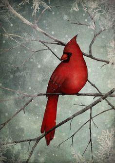 "The Cardinal - Maja Lindberg - Illustration print (size 7"" x 5""). kr139.00, via Etsy."
