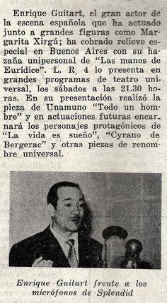 Gacetilla de RADIO SPLENDID, Buenos Aires,  anunciando la actuación del actor español Enrique Guitart, década del 50.