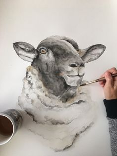 A personal favorite from my Etsy shop https://www.etsy.com/listing/586920264/large-18x24-sheep-watercolor-art