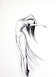 Original Ink Drawing of Dancing Woman Ballerina door CanotStop, $40.00