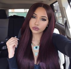 Silky Straight human hair wig/ Hair weave/Hair extensions 99j dark red burgundy color                                                                                                                                                     More
