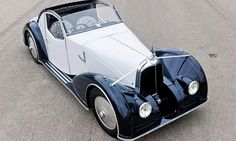 1934 Voisin C27 Aerosport front 3-4 view. A famous French brand from the 1930s, fewer than 160 Voisin cars survive today due to their aluminium bodies being highly sought after for scrap during World War II.