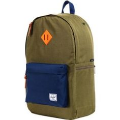 863dc7c0e33 Herschel Supply Heritage Plus Rubber-Strap Backpack Army Navy Neon Orange