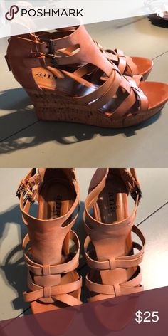 d03edede9a37 Size 10 cork wedge leather sandal a. Size 10 cork wedge leather sandal