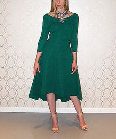 Another great find on #zulily! Green Surplice-Back Fit & Flare Dress #zulilyfinds