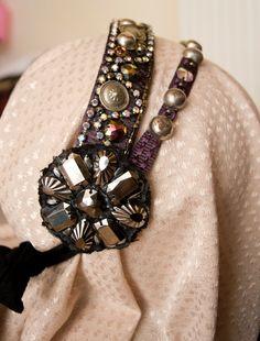 Purple Double headband - Purple and silver Tribal Bellydance headdress, hair accessory, fairy medieval festival headpiece art nouveau