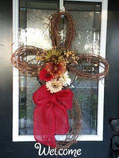 Grapevine cross wreath