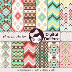 Aztec Scrapbooking Digital Paper, Tribal Aztec, Chevron Patterns, Commercial Use