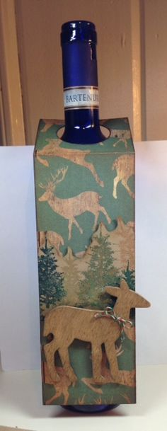 Bottle Tag - Deer in the Woods 1; Christmas; Masculine