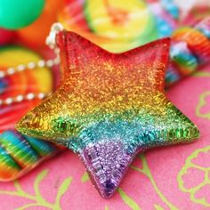Rainbow Bright Resin Star Necklace by stoopidgerl on Etsy