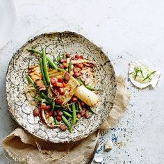 Warm squid, bacon and french bean salad