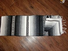 New Native Southwestern Mexican Falsa Blanket Western Table Runner 14x86 Grey | eBay