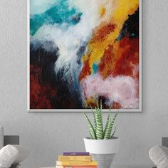 Colorful Abstract Painting, Large Canvas Art, Blue, Orange, Red