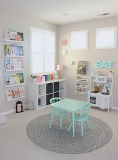 Pretty in Pastels Playroom A pretty in pastels playroom. When I designed Elena's Preschool Inspired Playroom, I wanted the room to mimic her days at preschool and it did just that! Dream Playroom: A Best Playroom Design Fun Kids Playroom Idea