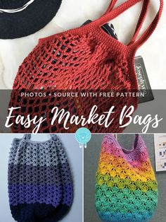 If you are after practical and effortless projects, today`s collection of crochet patterns for Easy Market Bags is just for you. Crochet Beach Bags, Crotchet Bags, Free Crochet Bag, Crochet Market Bag, Crochet Gratis, Easy Crochet, Crochet Tote Bags, Easy Things To Crochet, Crochet Handbags